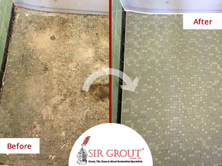 Before and After Picture of a Tile Cleaning Service in Cobble Hill, NY