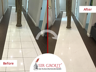 Before and After Picture of our Tile and Grout Sealing in Manhattan