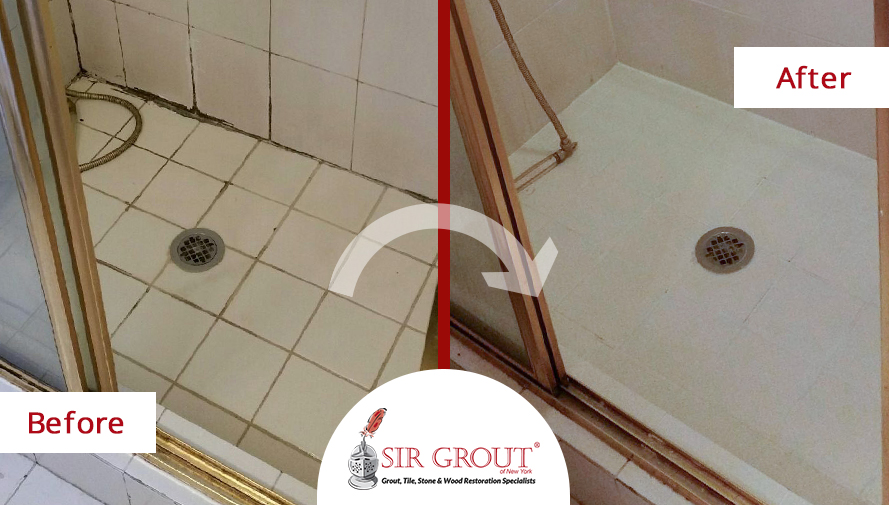 Family Avoids Costly Renovation with a Grout Recoloring on their 50 Year Old Bathroom in Forest Hills