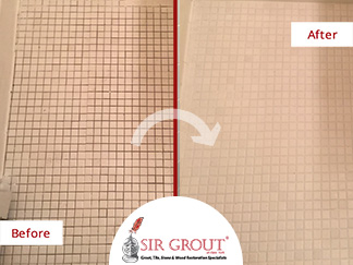 Before and After Picture of our Grout Cleaning and Recoloring Service