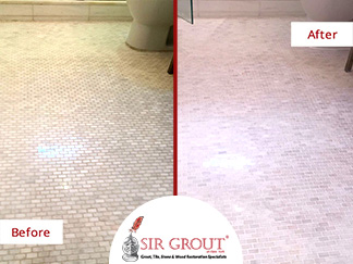 Before and After Picture of a Marble Bathroom Grout Cleaning in Brooklyn Heights