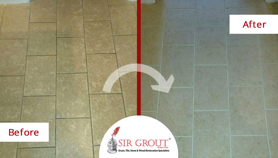 Before and After Picture of a Grout Cleaning Service in Whitestone, New York