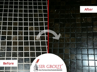 Before and After Picture of a Shower Grout Recoloring in Manhattan, NY