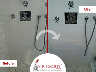 Before and After Picture of a Shower Grout Cleaning Service in Manhattan, NY