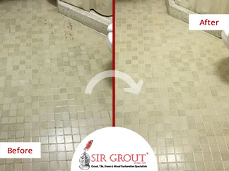 Before and After Picture of Our Grout Cleaning Service in Brooklyn Heights, NY