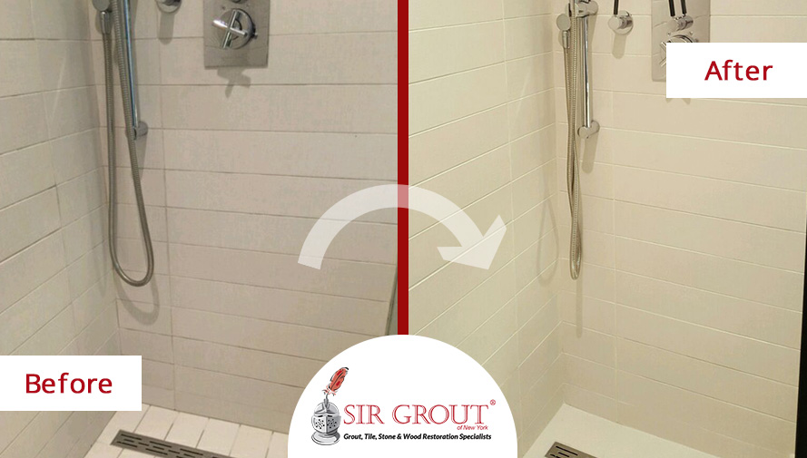 Back To New A Grout Cleaning Service Restored This White Shower In - Best way to clean white grout in shower