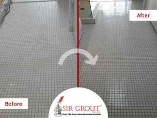 Before and After Picture of a Floor Stone Honing and Polishing Service in Dumbo, NY