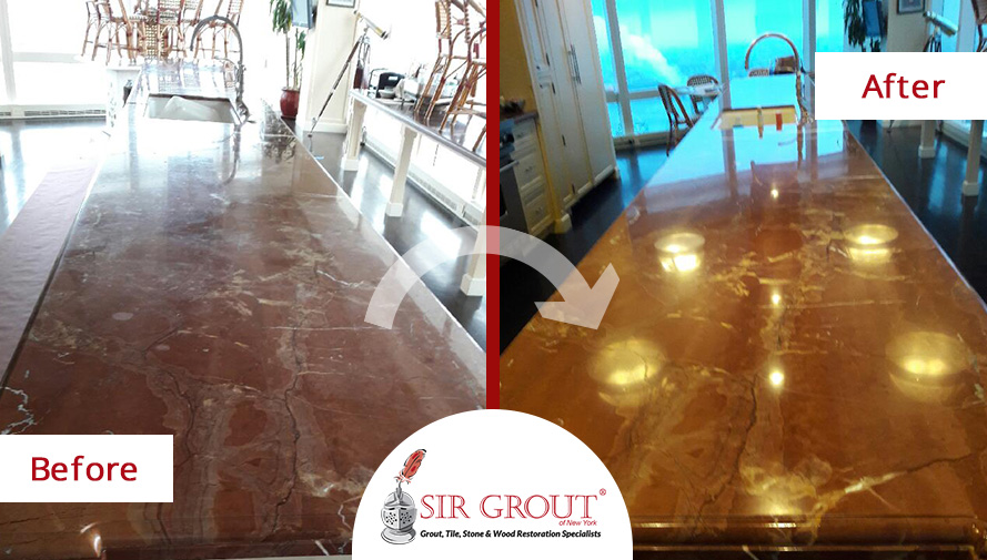 Before and After Picture of a Stone Polishing Service in Manhattan