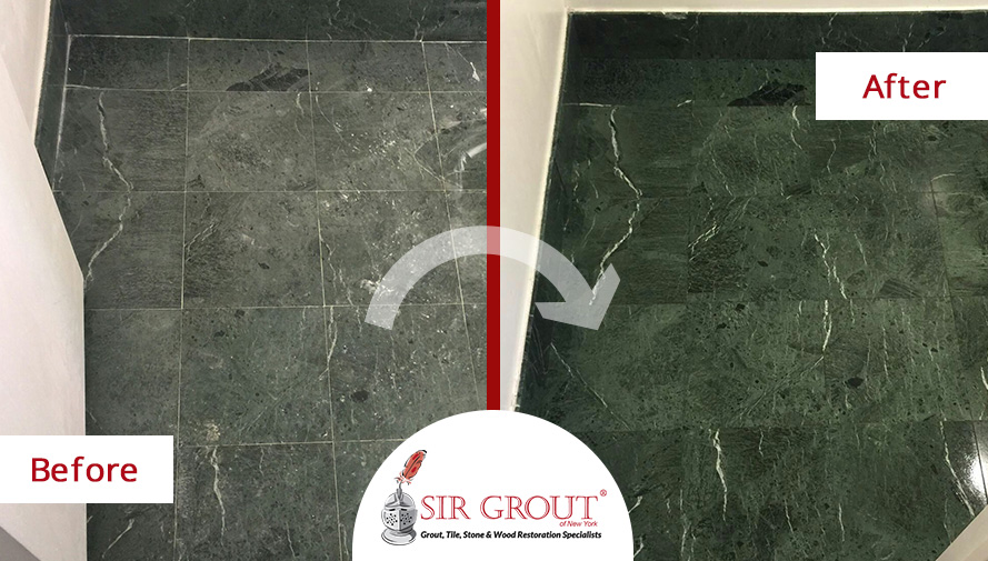 Before and After Picture of a Floor Stone Honing Service in Manhattan, NY