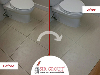 Before and After Picture of a Bathroom Floor Grout Cleaning Service in Brooklyn Heights, New York