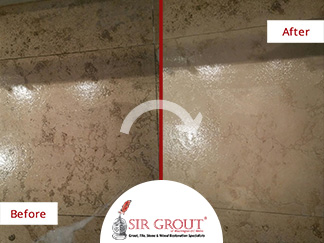 Before and After Picture of a Porcelain Kitchen Tile Cleaning Service in Manhattan, New York