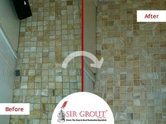 Before and After Picture of a Bathroom Floor Tile Sealing Service in Manhattan, New York
