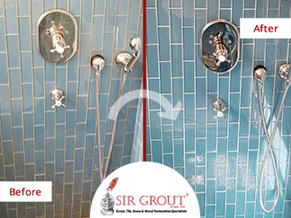 Before and After Picture of a Bathroom Grout Recoloring in Manhattan, New York