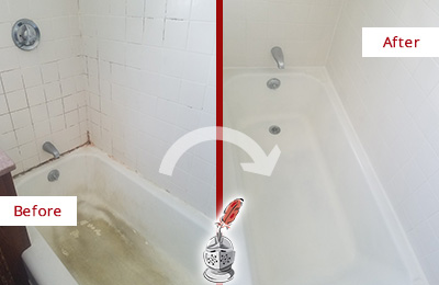 Before and After Picture of a Columbus Circle Bathtub Caulked to Repair Cracks