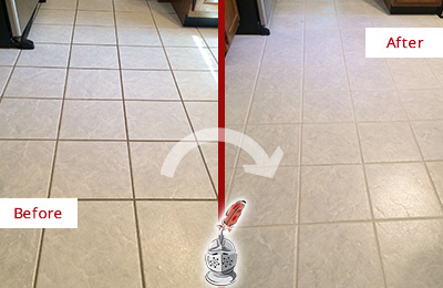 Before and After Picture of a Brookdale Kitchen Ceramic Floor Sealed to Protect From Dirt and Spills
