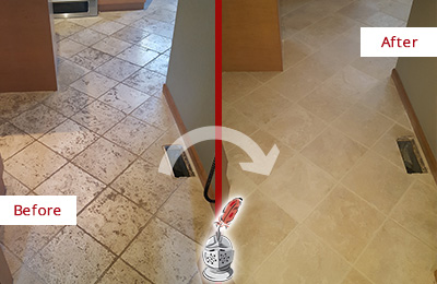 Before and After Picture of a Hamilton Beach Kitchen Marble Floor Cleaned to Remove Embedded Dirt