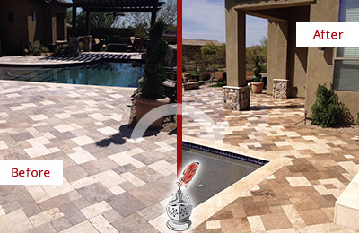 Before and After Picture of a Dull Hamilton Beach Travertine Pool Deck Cleaned to Recover Its Original Colors