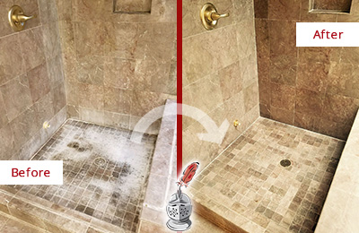 Before and After Picture of a Hamilton Beach Travertine Shower Cleaned to Eliminate Water Spots