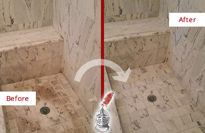 Before and After Picture of a Floral Park Marble Shower Honed to Remove Dark Stains