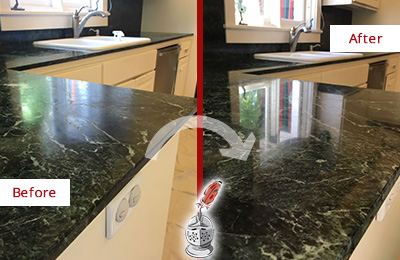 Before and After Picture of a Floral Park Marble Kitchen Countertop Honed to Remove Water Marks