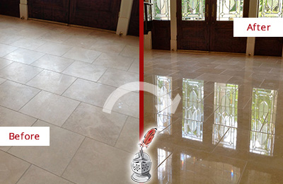 Before and After Picture of a Breezy Point Hard Surface Restoration Service on a Dull Travertine Floor Polished to Recover Its Splendor