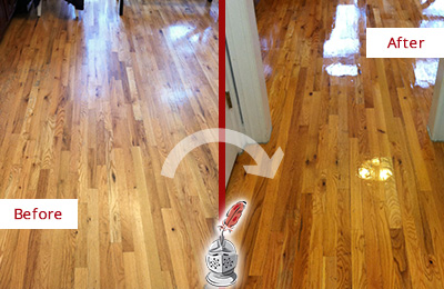 Before and After Picture of a Breezy Point Hard Surface Restoration Service on a Worn Out Wood Floor