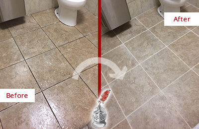 Before and After Picture of a Fort Hamilton Office Restroom Floor Recolored Grout