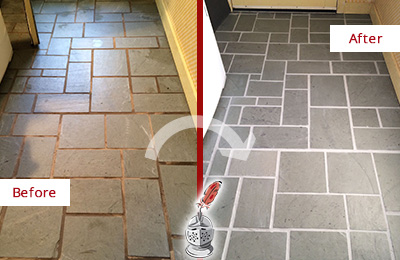 Before and After Picture of Damaged College Point Slate Floor with Sealed Grout