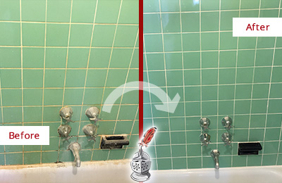 Before and After Picture of a College Point Bath Tub Grout Sealed to Avoid Water Damage
