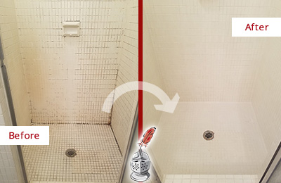 Before and After Picture of a College Point Bathroom Grout Sealed to Remove Mold