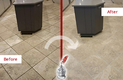 Before and After Picture of a College Point Kitchen Floor Grout Sealed to Remove Stains