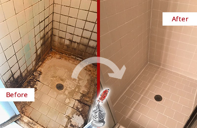 Before and After Picture of a Bayside Ceramic Shower Cleaned to Remove Grime