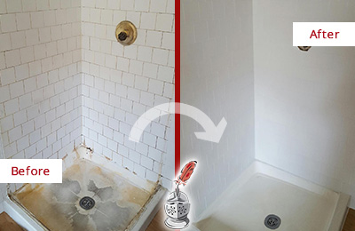 Before and After Picture of a Bayside Shower Cleaned to Eliminate Mold