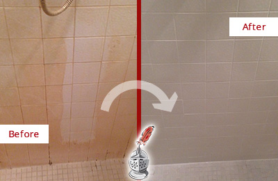 Before and After Picture of a Bayside Porcelaine Shower Cleaned to Remove Soap Scum
