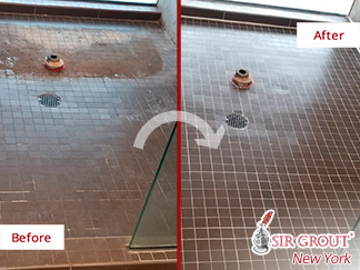 Before and After Picture of a Tile Shower Grout Sealing Service in Long Island City, NY