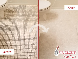 Before and After Picture of a Bathroom Floor Tile and Grout Cleaners in Soho, NY