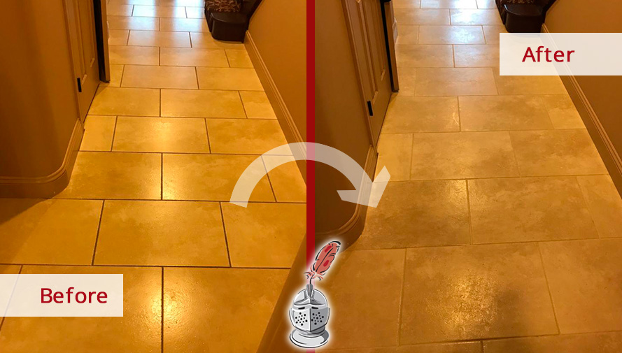 Before and After Picture of a Tile Floor Grout Cleaning Service in Middle Village, New York