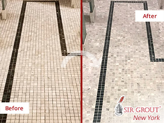 Before and After Picture of a Marble Bathroom Floor Grout Cleaning and Sealing Service in Manhattan
