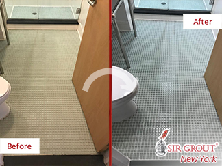 Before and After Picture of a Grout Sealing Service in Cobble Hill, NY