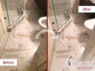 Before and After Picture of a Hard Surface Restoration Service in Upper West Side, New York