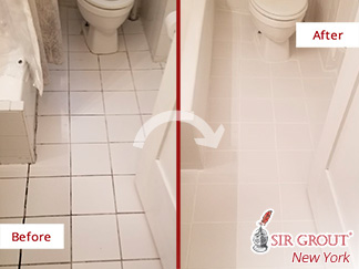 Before and After Picture of a Tile Floor Grout Sealing Service in Manhattan, NY