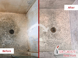 Before and After Picture of a Natural Stone Shower Cleaning Service in Manhattan, NY