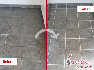 Before and After Picture of a Tile Floor Grout Cleaning Service in Williamsburg, NY