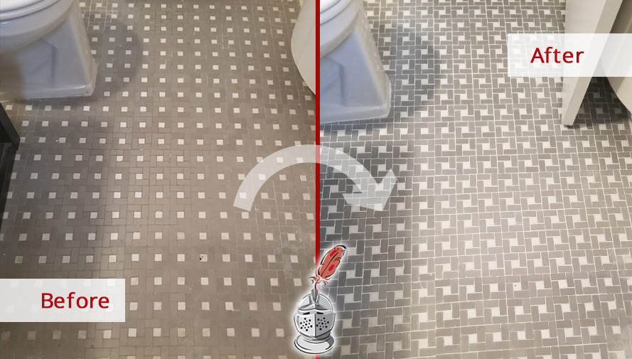 Picture of a Bathroom Floor Before and After a Grout Sealing Job in Forest Hills, NY