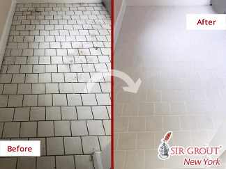 Before and After Picture of a Tile and Grout Cleaning Service in Murray Hill, NY