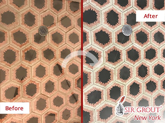 Before and After a Tile Cleaning Job in Manhattan, NY