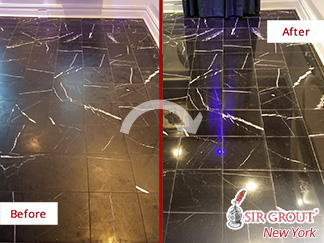 Before and After Picture of a Stone Honing Service in Williamsburg, NY