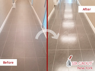 Before and After a Porcelain Floor Tile Sealing in Manhattan, NY