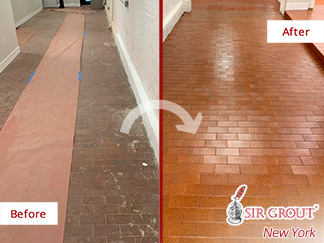 Before and After Picture of a Hard Surface Restoration in Brooklyn Heights
