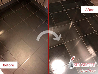 Before and After Picture of a Granite Polishing in Manhattan, NY